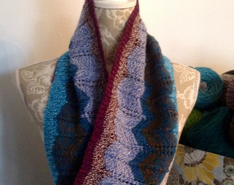 Chevron Knitted Cowl Turquoise, Burgandy, Navy