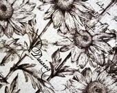 Cotton Fabric DAISIES BLACK & WHITE Ink Parchment Crackle Half Yard Tim Coffey Premium cotton Excellent Fabric for Creative Genius Projects