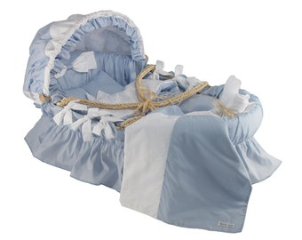 Moses basket with Blue Egyptian Cotton Bedding Set