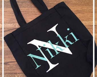 Monogrammed Personalized Canvas Tote Bag Black