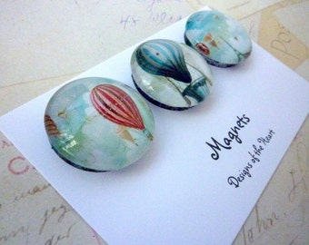 Round Glass Magnet set - Balloons