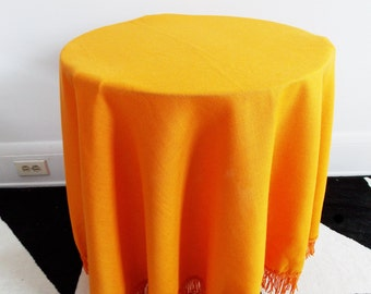 vintage 1960s orange linen round tablecloth with fringe/ mid century mod table clotch