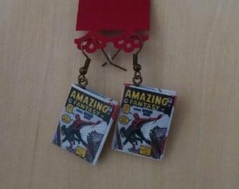 Mini Spiderman Comic Book Earrings - Comic Book Jewelry - Spiderman Comic Book Earrings - Spiderman Comic Book Jewelry - Comic Book Earrings