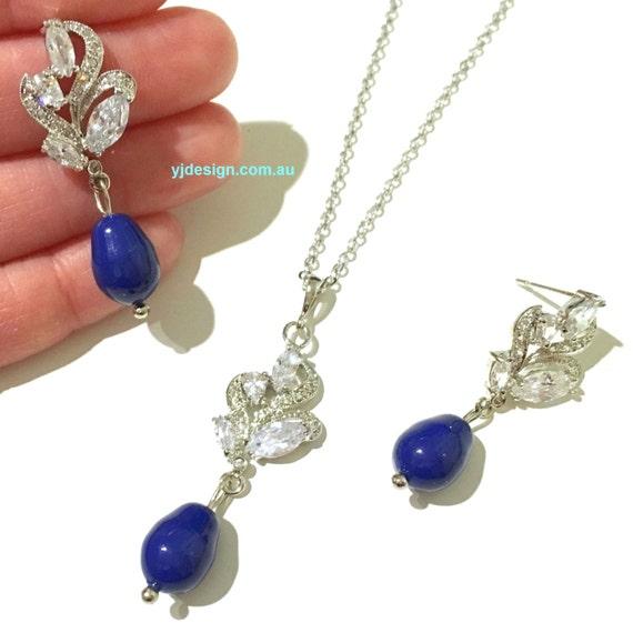 Something Blue Wedding Jewelry, Pearl Bridal Earrings, Cz Wedding Earrings, Cubic Zirconia Bridal Necklace, Teardrop Wedding Jewelry, BRANDI