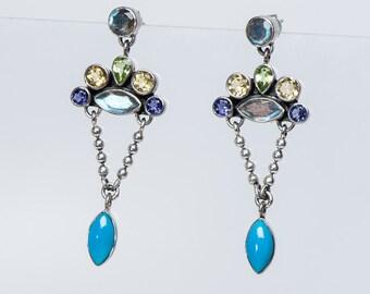 Multistone Turquoise Earrings  - Sterling Nicky Butler  - Retired Design