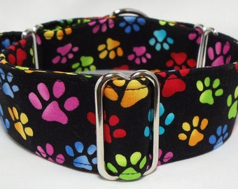 Colorful Rainbow Paws on Black Greyhound, Whippet, Galgo, Pit Bull, Dog, Sighthound Martingale Collar