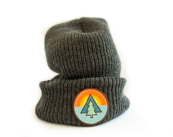 Dark Gray beanie with Tree Patch