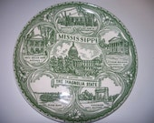 Green Transferware plate, Mississippi state plate, The Magnolia State, Collector piece, excellent condition