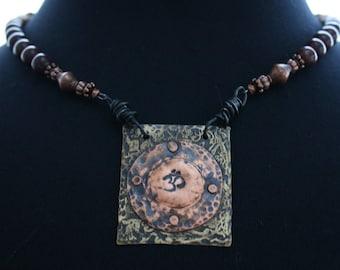 Zen-OM-Boho Necklace-Etched Stamped Metal Pendant-Jasper