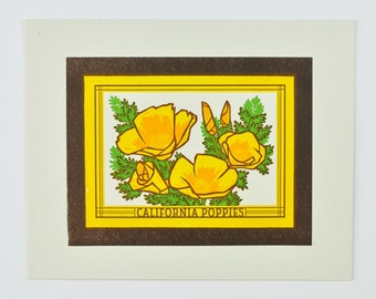 California Poppies : Limited Edition Letterpress Linocut Print