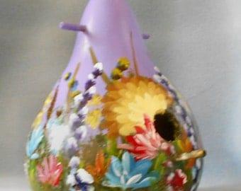 Hand Painted Lavender Bouquet Bird House Gourd