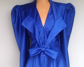80s Does 40s Ladies Jacket Jeweltone Royal Blue 34 Bust