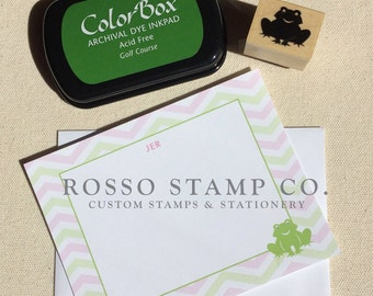 Children's Stationery Set, Children's Note Cards with matching frog stamp (Set of 10)