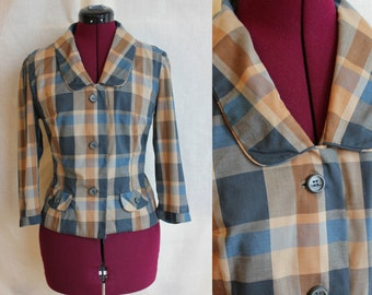 1950s Teddy Girl collegiate cotton plaid blouse