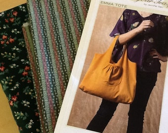 Fabric & Pattern Kit, Pattern and Fabric, market tote sewing pattern and fabric, Floral tote bag fabric and pattern, tote bag sewing pattern