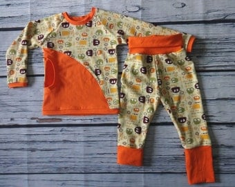 Pocket Tee Shirt Size 2 and Grow With Me Pants in Ooga Booga by Soothe Baby CLEARANCE
