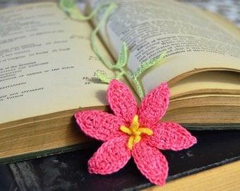 Crochet Pink Lily Flower Bookmark