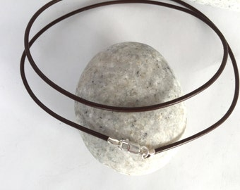 "18"" Brown Leather Cord Necklace 1.5mm, Sterling Silver Lobster Clasp, Pendant Cord Necklace"