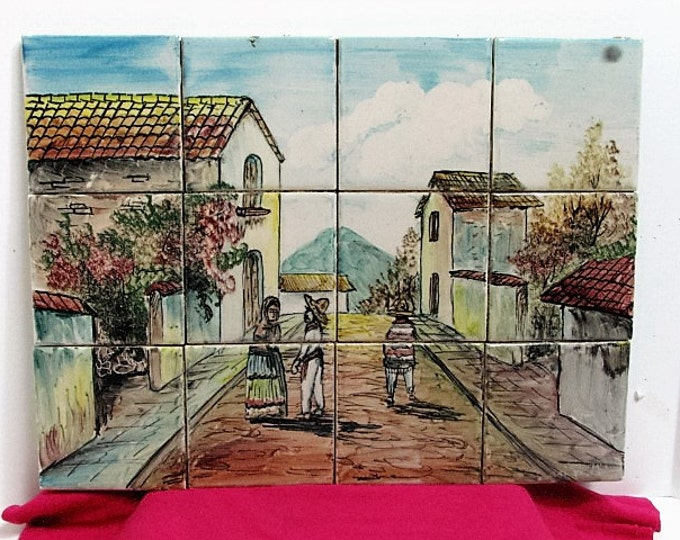 "Vintage Cer Art Davalos Mexican Tile Mural, 12 4.25"" Pieces of Village Street Scene, Vintage Mexico Ceramic"