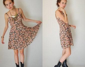 25% off every sunday sale Floral India Dress Vintage Black Floral India Cotton Boho Summer Dress (s)
