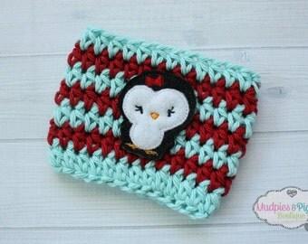 Winter Crochet Coffee Cozy { Striped Penguin } Red aqua stripe cup holder, coffee sleeve, mug sweater, tea cup, planner mug