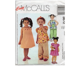 Toddlers Dress Tops and Pants Pattern Pullover A-Line Easy McCalls 3672 Size 1 2 3 4