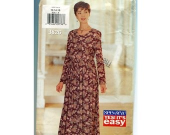 Easy Dress Pattern -  Butterick 3826 See & Sew Misses Size 12 14 16 Long Sleeves, High Waist, Gathered Skirt, Vintage 90s
