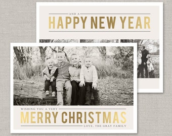 Gold Christmas Card Template #4 for Photoshop: Instant Download