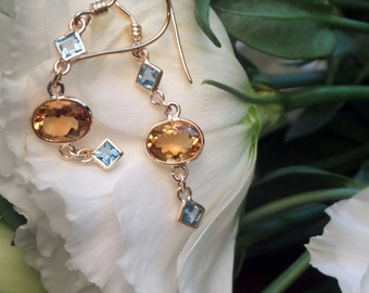 Honey Citrine and Blue Topaz Earrings, 14k Yellow Gold 3 Stone Dangling Earrings, Spectacle Set Gems, Ready to Ship