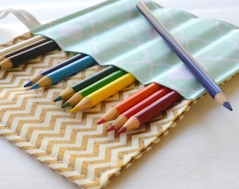 Colored Pencil Roll . 12 Colored Pencils Included . Gold Chevron . Birthday Gift . Teacher Gift . Wedding Favor