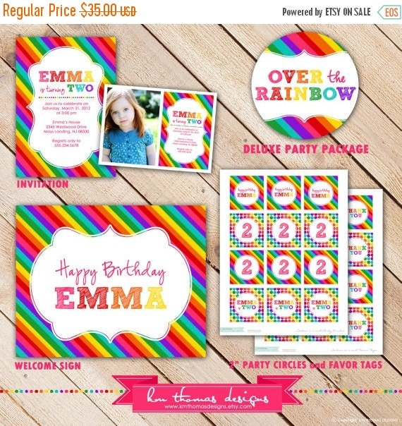 ON SALE Deluxe OVER the Rainbow Collection...Custom Printable Party Package...Personalized...by Km Thomas Designs
