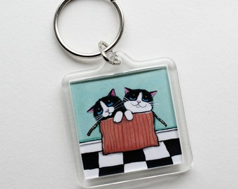 Cat Art Keyring Keychain | Kittens in Box | Cat Lover Gifts | Art by Lisa Marie Robinson