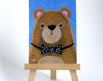 Original ACEO Brown Bear wearing a Polka Dot Bow Tie - Whimsical Art Illustration