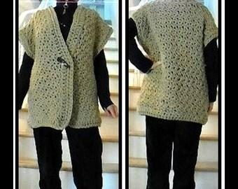 CROCHET PATTERN, Outdoor Cardigan Sweater, Child-Teens-Women, #1005J, crochet for women, crochet for children, crochet sweater pattern, vest