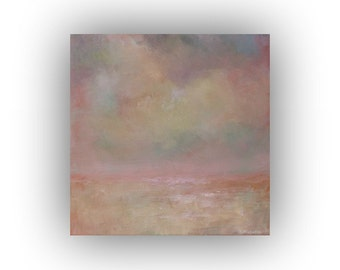 Small Abstract Landscape- Pink and Purple Sky and Clouds Oil Painting- Original 12 x 12  Palette Knife Art on Canvas