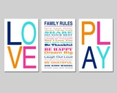 Family Rules LOVE PLAY Wall Art Trio Playroom Decor Playroom Rules House Rules Kids Wall Art Set of Three 11x17 Prints - Choose Your Colors