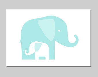 Aqua Nursery Decor Elephant Art - Mommy and Baby Elephants Print - CHOOSE YOUR COLORS - Shown in Aqua, Yellow and More