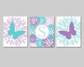 Aqua Purple Nursery Wall Art Girl Nursery Decor Lavender - Flowers and Butterflies with Custom Monogram Initial - Set of 3 Prints