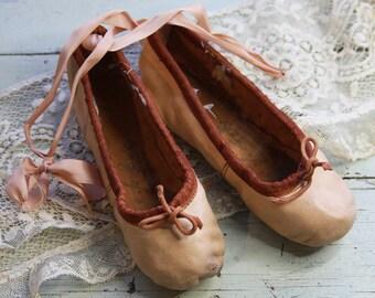 Small Pink BALLET SHOES- Ballerina- Leather Dance Shoe -Girl Nursery Decor