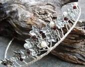 ON SALE Celtic Ivy Pearl and Garnet Wedding Tiara Crown Circlet