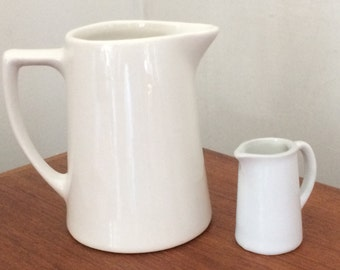 Vintage Milk Pitcher and Mini Creamer White