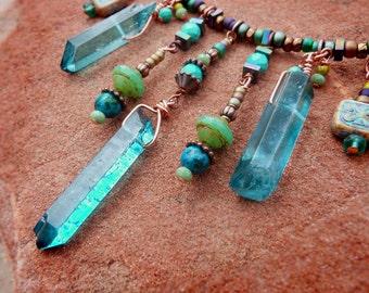 Quartz Crystal Bohemian choker style necklace - rustic boho aqua wire wrapped quartz fully beaded genuine turquoise