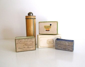 Antique Collection Pharmacy Apothecary Ephemera Medicine Containers Talc Tin Vintage Pharmacy Memorabilia