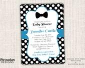 Bow Tie Baby Shower Invitation, Polka Dot Baby Shower Invitation, Blue, Printable, Digital File, BS3