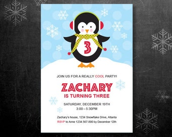 Penguin Birthday Party Invitation – DIY Printable Personalized – Penguin Boy (Digital File)