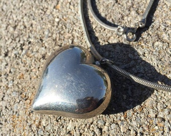 FREE SHIPPING puffy heart necklace