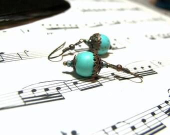 Turquoise Howlite Earrings Bohemian Earrings Vintage Jewelry