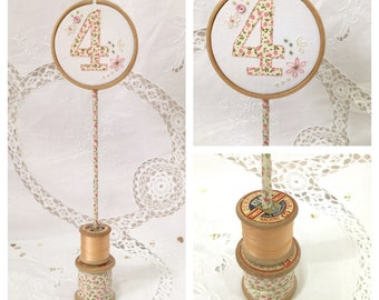 Embroidery Hoop Table Number Wedding Centrepiece