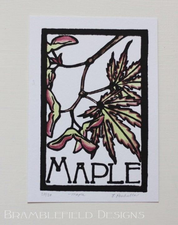 Maple- Block Print Original- FREE SHIPPING