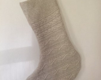 Natural Cream Cable Knit Wool Stocking